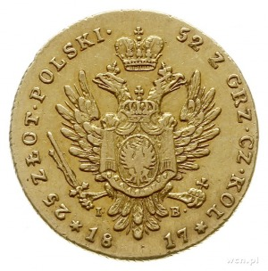 25 złotych 1817, Warszawa; złoto 4.89 g; Plage 11, Bitk...