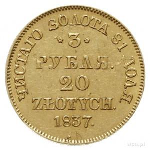 3 ruble = 20 złotych 1837, Warszawa; złoto 3.91 g; Plag...