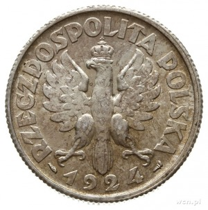 """2 złote 1924 """"róg i pochodnia przy dacie"""", Paryż, głowa..."""
