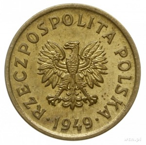 10 groszy 1949, Warszawa, na rewersie wklęsły napis PRÓ...