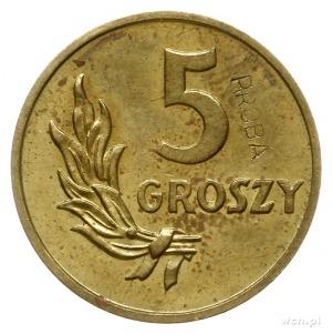 5 groszy 1949, Warszawa, na rewersie wklęsły napis PRÓB...