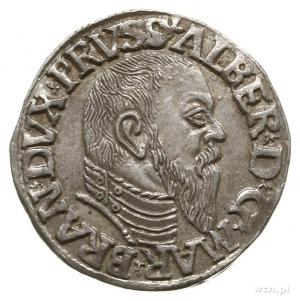 trojak 1544, Królewiec, głowa księcia z wysokim kołnier...