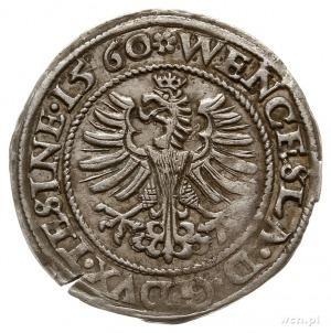 grosz 1560, Cieszyn, Aw: Postać św. Mikołaja i napis wo...