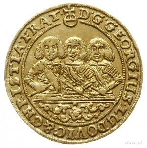 dukat 1659, Brzeg, Aw: Półpostacie trzech braci i napis...