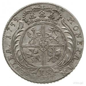 ort (18 groszy), 1755, Wrocław, fałszerstwo Fryderyka I...