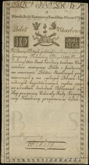 10 złotych polskich 8.06.1794; seria A, numeracja 24519...