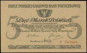5 marek polskich 17.05.1919; seria F, numeracja 512008;...