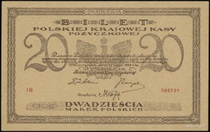 20 marek polskich 17.05.1919; seria IB, numeracja 39573...