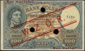 100 złotych 28.02.1919; seria C, numeracja 6424068, cze...