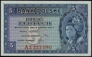 5 złotych 15.08.1939; seria A, numeracja 2223080; Lucow...