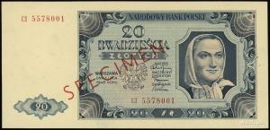 20 złotych 1.07.1948; seria CI, numeracja 5578001, czer...