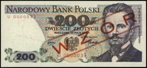 200 złotych 25.05.1976; czerwony ukośny nadruk WZÓR / S...