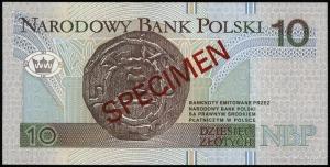 10 złotych 25.03.1994; seria AA, numeracja 0000000, cze...