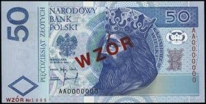 50 złotych 25.03.1994; seria AA, numeracja 0000000, cze...