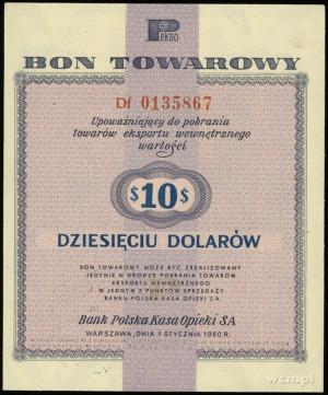 bon towarowy 10 dolarów 1.01.1960; seria Df, numeracja ...