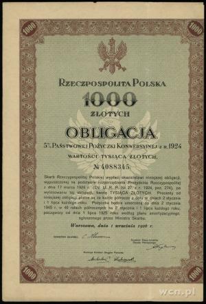 obligacja na 1.000 złotych 5% państwowej pożyczki konwe...