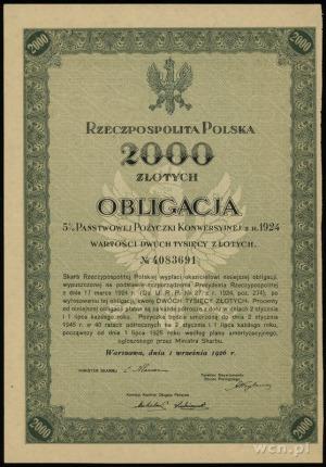obligacja na 2.000 złotych 5% państwowej pożyczki konwe...