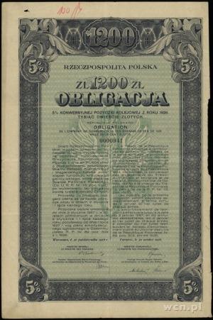 obligacja 5% konwersyjnej pożyczki kolejowej z roku 192...