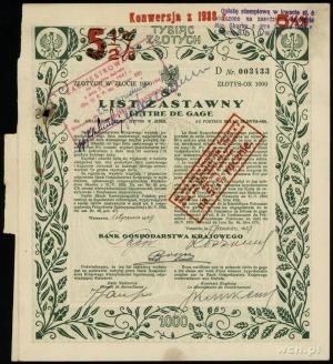 Bank Gospodarstwa Krajowego; 8% list zastawny na 1.000 ...