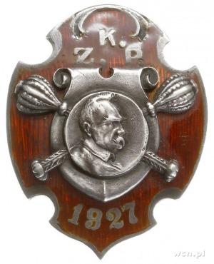 odznaka pamiątkowa KZP 1927, dwuczęściowa w kształcie t...