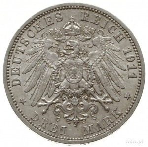 3 marki 1911 A, Berlin; AKS 4, J. 82, bardzo ładne i do...