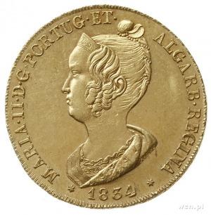 4 escudo (peça = 7500 reis) 1834, Lisbona; Fr. 140, Gom...