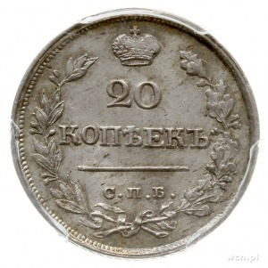 20 kopiejek 1820 / 1822 СПБ ПД, Petersburg; przebita na...