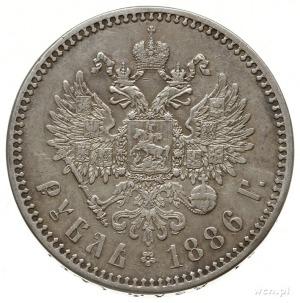 rubel 1886 (А.Г), Petersburg; odmiana z dużą głową cara...