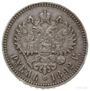 rubel 1892 (А.Г), Petersburg; odmiana z małą głową cara...