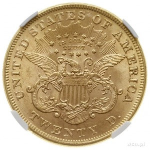 20 dolarów 1873, Filadelfia; odmiana z otwartą cyfrą 3;...