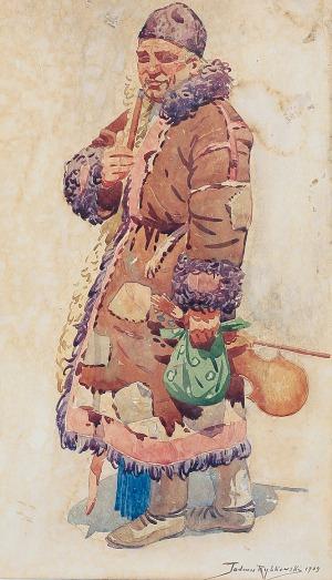 Tadeusz RYBKOWSKI (1848-1926), Chłop w kożuchu, 1909