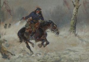 Jerzy KOSSAK (1886-1955), Napad wilków, 1939