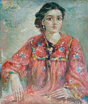 Marian ADAMCZYK (ur. 1938), Dziewczyna w czerwieni -portret Joanny, 1980