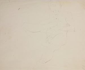 Wlastimil Hofman (1881-1970), Szkic aktu siedzącego mężczyzny (fauna?)gryzącego paluch prawej stopy, ok. 1910