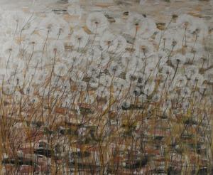 Mariola Świgulska, Splątane wiatrem, 2017, akryl na płótnie, 100x120 cm
