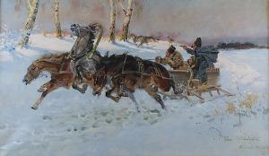 Wojciech KOSSAK (1856-1942), Napad wilków, 1925