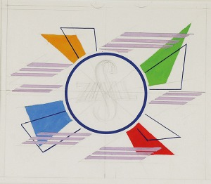 Tadeusz GRONOWSKI (1894-1990), Projekt kompozycji [ściennej?] dla Zjednoczonych Spółdzielni Mleczarskich, lata 70. XX w.