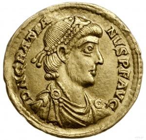solidus 380-382, Mediolan; Aw: Popiersie cesarza w praw...