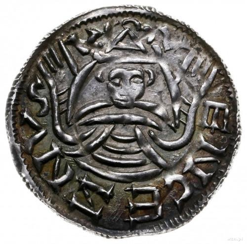 denar przed 1050; Aw: Krzyż z centralnym kółkiem i krzy...