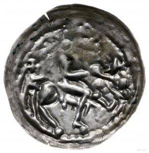 brakteat łaciński; Jeździec na koniu w prawo, z lewej M...