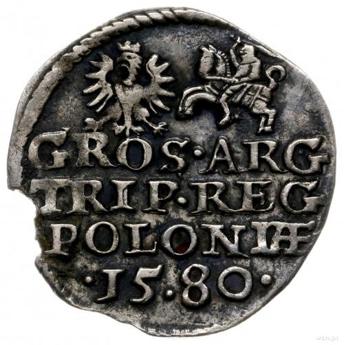 trojak 1580, Olkusz; z herbem Glaubicz (podskarbiego ko...