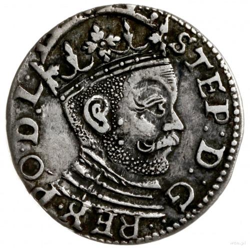 trojak 1585, Ryga; małe popiersie króla, korona z rozet...