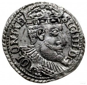 trojak 1599, Olkusz; głowa starego typu, na awersie POL...