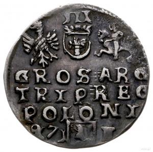 trojak 1597, Lublin; korona króla z trójlistkiem, skróc...