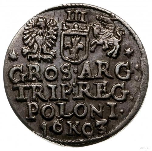 trojak 1603, Kraków; Iger K.03.1.a (R1); ładna moneta z...