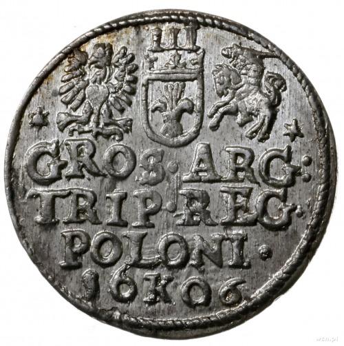 trojak 1606, Kraków; u dołu pełna data rozdzielona lite...