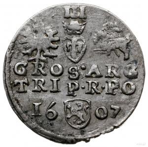 trojak 1607, Kraków; na rewersie herb Lewart w prostej ...