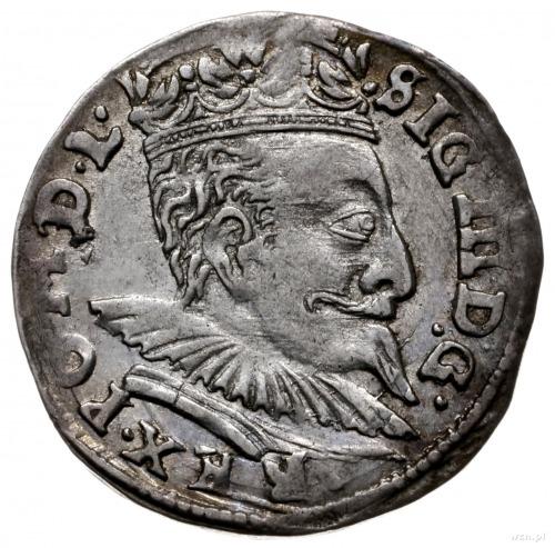 trojak 1596, Wilno; mała kryza króla, odmiana z herbem ...