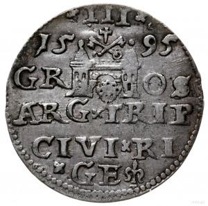 trojak 1595, Ryga; na awersie rzadka w tym roczniku koń...
