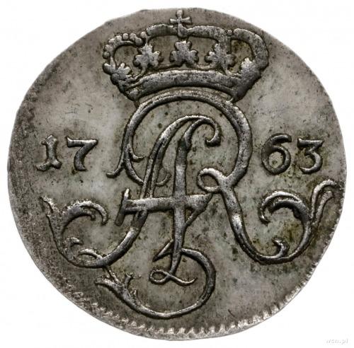 trojak 1763, Elbląg; F-L-S pod herbem miasta, wybity w ...